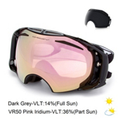 Oakley Airbrake Alt Fit Goggles, Jet Black-Vr50 Pink Iridium + Bonus Lens, medium