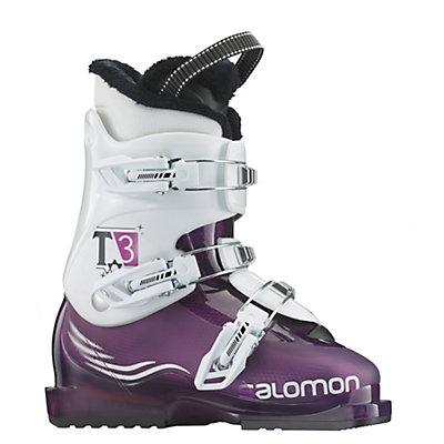 Salomon T3 Girlie RT Girls Ski Boots, Purple Translucent-White, viewer