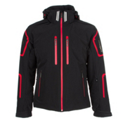 Descente Bullet Mens Insulated Ski Jacket, Black-Electric Red-Black, medium
