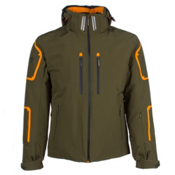 Descente Bullet Mens Insulated Ski Jacket, Khaki-Spark Orange-Black, medium