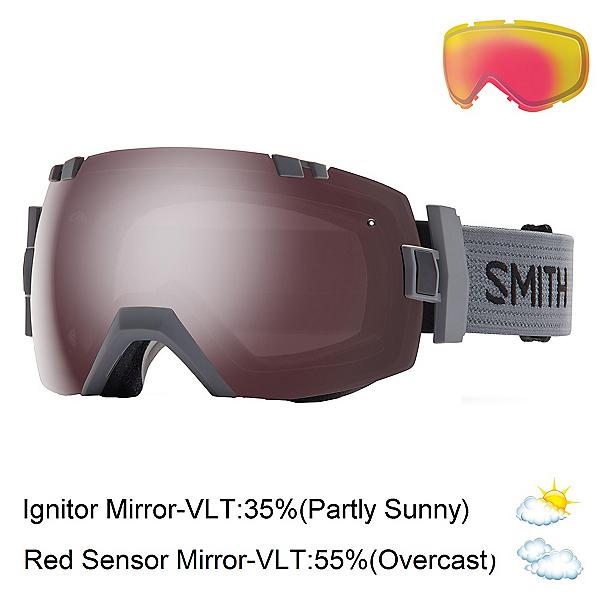 Smith I/OX Goggles 2017, Charcoal-Ignitor Mirror + Bonus Lens, 600