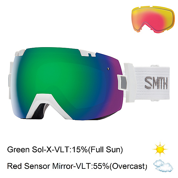 Smith I/OX Goggles 2017, White-Green Sol X Mirror + Bonus Lens, 600