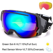 Smith I/O7 Goggles 2017, Black-Green Sol X Mirror + Bonus Lens, medium