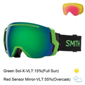 Smith I/O7 Goggles 2017, Reactor-Green Sol X Mirror + Bonus Lens, medium