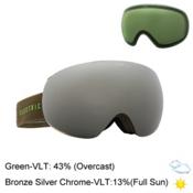 Electric EG3 Goggles 2016, Olive-Slime- Bronze Silver Ch + Bonus Lens, medium