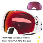 Oakley Airbrake Prizm Goggles 2017, Polished White-Prizm Torch Iri + Bonus Lens, medium