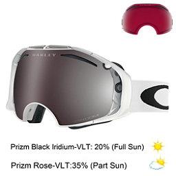 Oakley Airbrake Prizm Goggles, Polished White-Prizm Black Iri + Bonus Lens, 256