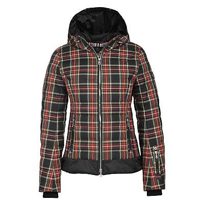 Bogner Leya Down Womens Insulated Ski Jacket, Black Tartan Plaid, viewer