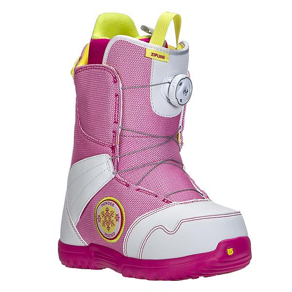 Burton Zipline Boa Girls Snowboard Boots, White-Pink, 600