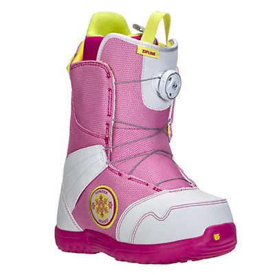 Burton Zipline Boa Girls Snowboard Boots, White-Pink, viewer