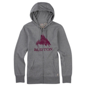 Burton Stamped Mountain Full Zip Womens Hoodie, Gray Heather, medium