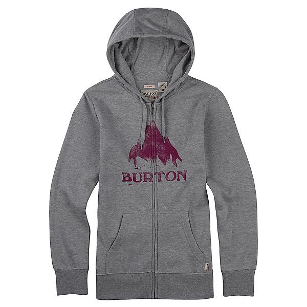 Burton Stamped Mountain Full Zip Womens Hoodie, Gray Heather, 600