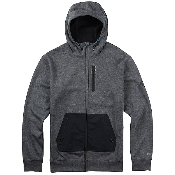 Burton Hemlock Bonded Full Zip Mens Hoodie, True Black Heather, 600