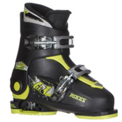 Roces Idea Up Adjustable Kids Ski Boots, Black-Lime Green, medium