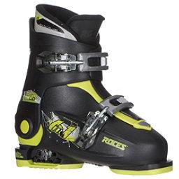 Roces Idea Up Adjustable Kids Ski Boots, Black-Lime Green, 256
