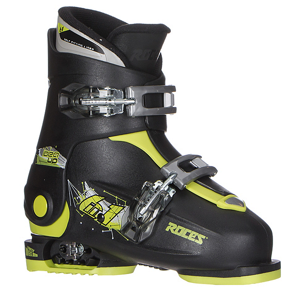 Roces Idea Up Adjustable Kids Ski Boots, Black-Lime Green, 600