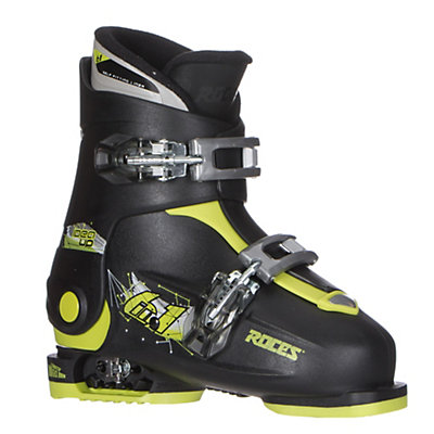 Roces Idea Up Adjustable Kids Ski Boots, Black-Lime  Green, viewer