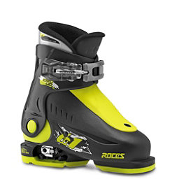 Roces Idea Up Adjustable Kids Ski Boots, Black-Lime  Green, 256