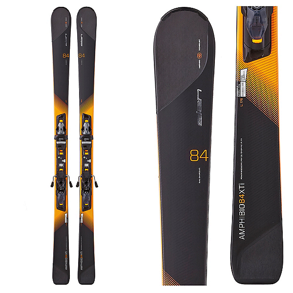 Elan Amphibio 84 XTi Skis with ELX 12.0 Fusion Bindings, Black-Orange, 600