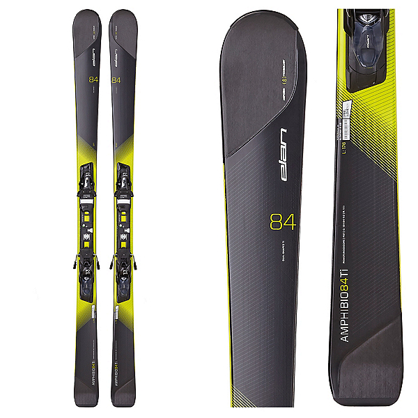 Elan Amphibio 84 Ti Skis with ELX 11.0 Fusion Bindings, Black-Yellow, 600