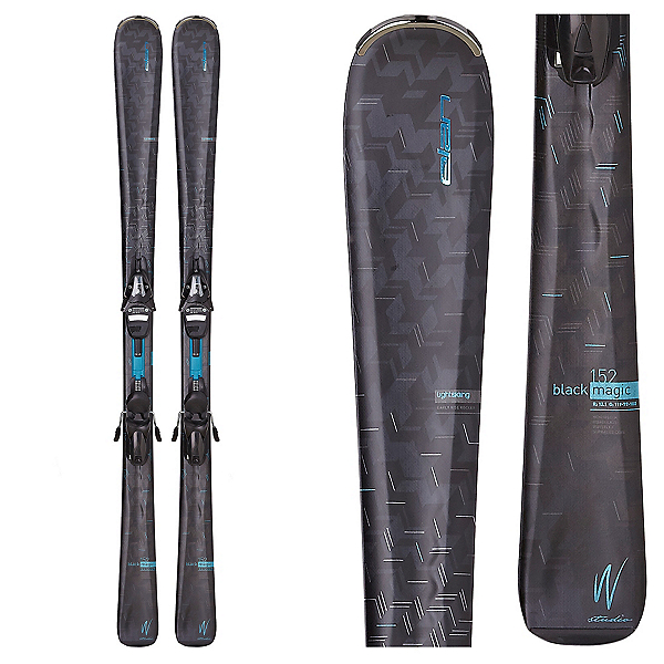 Elan Black Magic Womens Skis with ELW 9.0 QT Bindings, , 600