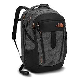 The North Face Surge Womens Backpack 2018, TNF Black Heather-Burnt Coral, 256