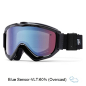 Smith Knowledge Turbo Fan OTG Goggles, Black-Blue Sensor Mirror, medium