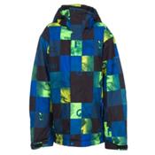 Quiksilver Mission Print Boys Snowboard Jacket, Check Kasper Snow Blue, medium