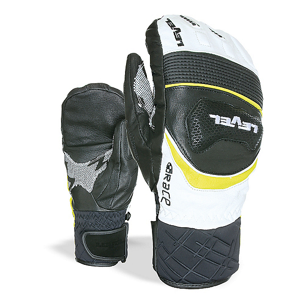 Level Race Ski Racing Mittens, Black Yellow, 600