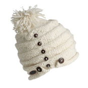 Turtle Fur Acorn Knit Pom Hat, White, medium