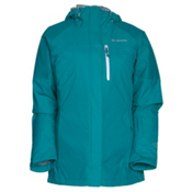 Columbia In Bounds 650 TurboDown Interchange Womens Insulated Ski Jacket, Emerald-Tradewind Grey, medium