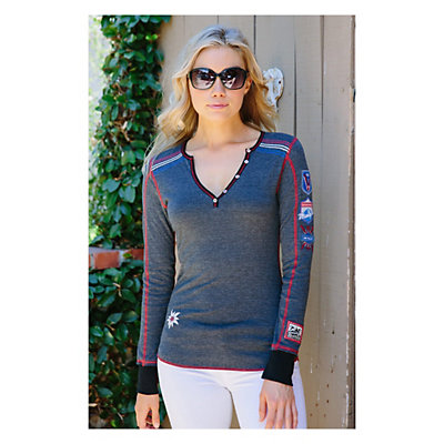 Alp-n-Rock Vintage Racer Womens Shirt, Heather Black, viewer