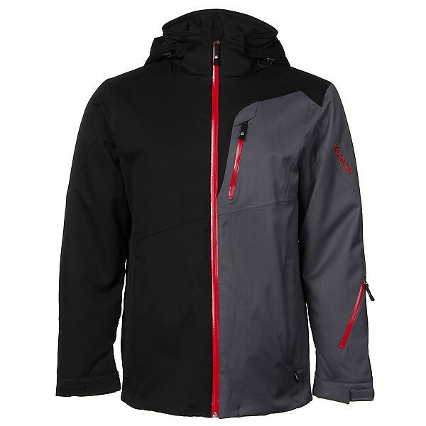 Karbon Shale Mens Insulated Ski Jacket, Black-Charcoal-Red, 600