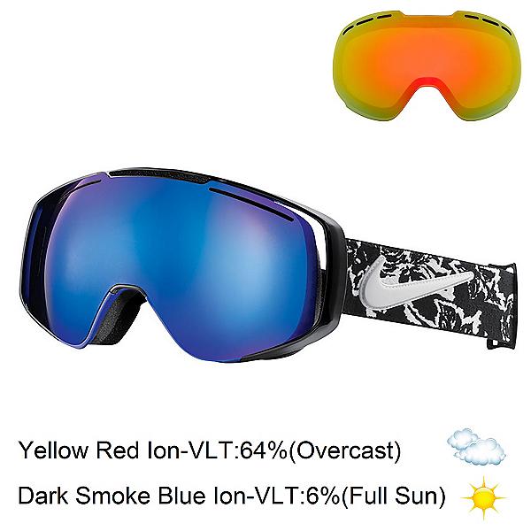 Nike Khyber Goggles, Black White Floral-Dark Smoke + Bonus Lens, 600