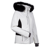 Nils Hanna Real Fur Womens Insulated Ski Jacket, White-Black, medium
