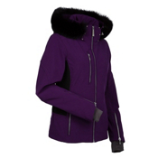 Nils Hanna Real Fur Womens Insulated Ski Jacket, Eggplant-Black, medium