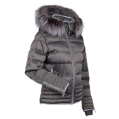 Nils Larisa Real Fur Womens Insulated Ski Jacket, Pewter, medium