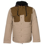 686 Authentic Woodland Mens Insulated Snowboard Jacket, Khaki Herringbone, medium