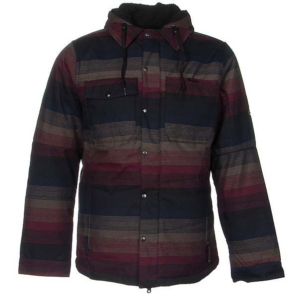 686 Authentic Woodland Mens Insulated Snowboard Jacket, Black Yarn Dye Stripe, 600