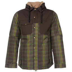 686 Authentic Woodland Mens Insulated Snowboard Jacket, Tobacco Yarn Dye Plaid, 256