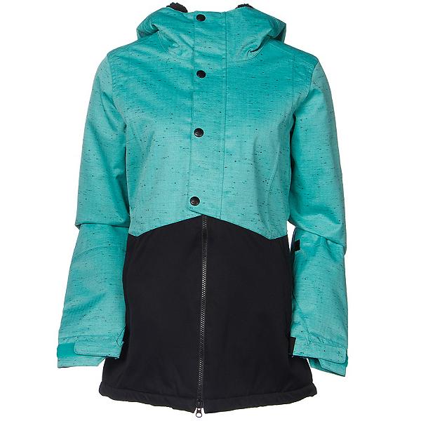 686 Authentic Rumor Womens Insulated Snowboard Jacket, Tiffany Texture Herringbone, 600