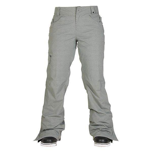 686 Authentic Patron Insulated Womens Snowboard Pants, Grey Herringbone, 600