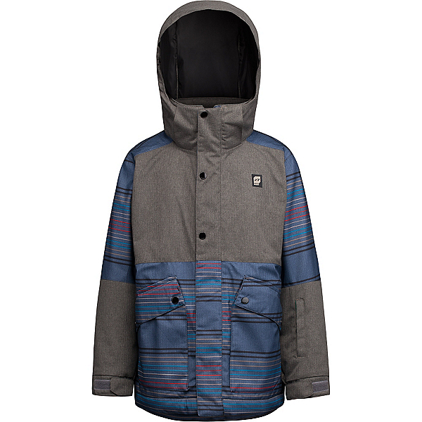 Orage Edwards Boys Ski Jacket, Emperor Blue Stripe, 600