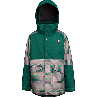 Orage Edwards Boys Ski Jacket, Bottle Green Stripe, viewer