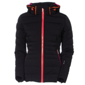 Descente Annie Womens Insulated Ski Jacket, Black-Azalea Pink-Flash Orange, medium