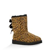 UGG Bailey Bow Leopard Girls Boots, Chestnut, medium