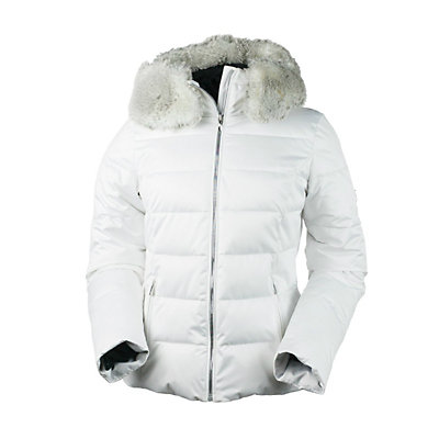 Obermeyer Bombshell (Petite) with Faux Fur Womens Insulated Ski Jacket, White, viewer