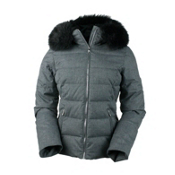 Obermeyer Bombshell (Petite) with Faux Fur Womens Insulated Ski Jacket, Charcoal, medium
