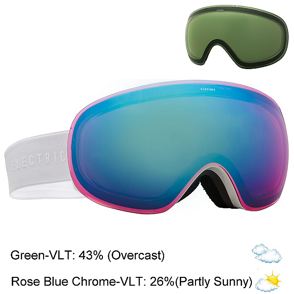 Electric EG3.5 Goggles, Gloss White-Rose Blue Chrome + Bonus Lens, 600