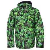 Quiksilver Mission Printed Mens Insulated Snowboard Jacket, Sweaty Palms Green, medium